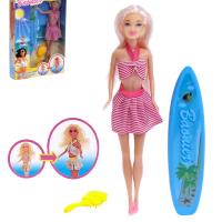 Кукла модель «Карина» тело меняет цвет, с доской для серфинга и аксессуарами, МИКС