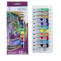 Краски акриловые 12 цветов в пластиковой тубе 12 мл, в картонной коробке 1211870
