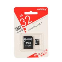Карта памяти Smartbuy microSD, 32 Гб, SDHC, UHS-I, класс 10, с адаптером SD  1150381