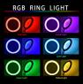 Кольцевая лампа со штативом 26 см, разноцветная J157