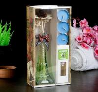 "Набор подарочный ""Эйфелева башня""(ваза,2 палочки, 3 свечи ,декор,аромамасло 30 мл), сандал   4355340"