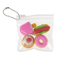 Набор ластиков фигурных 4 штуки МИКС Десерты в пакете на зап-молнии   4359274