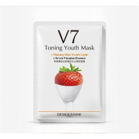 Омолаживающая тканевая маска для лица с комплексом витаминов V7 и экстрактом клубники Bioaqua BQY924