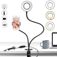 Кольцевая LED лампа Professional Live Stream с гибким держателем, 9 см