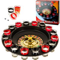 """Пьяная игра """"Алко-Вегас"""", рулетка черная d=29 см, 16 стопок, микс 400200"""