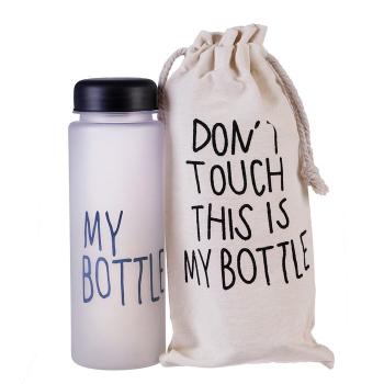 """Бутылка для воды """"My bottle"""", 500 мл, градиент, в мешке, чёрная, 6.5х6.5х19 см 3516277"""