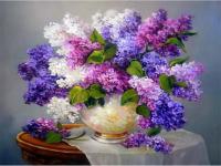 Картина по номерам 40*50 см Арт. 3052 Сирень в белой вазе
