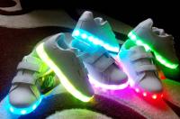 Кроссовки светящиеся Белый 2 липучки c1800-2 31-36