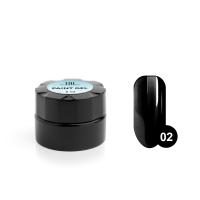 Гель-краска для дизайна ногтей TNL №02 (черная), 6 мл.