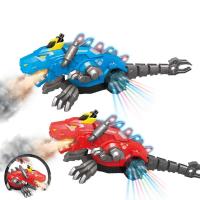 Дракон ходит, рычит, светятся колеса и спина, изо рта идет пар Mechanical spray dragon