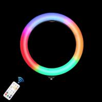 Лампа кольцевидная RGB с триподом цветная Огонек OG-SMH06 (26см)